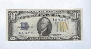 1934a Ten Dollar Silver Certificates Yellow Seal North