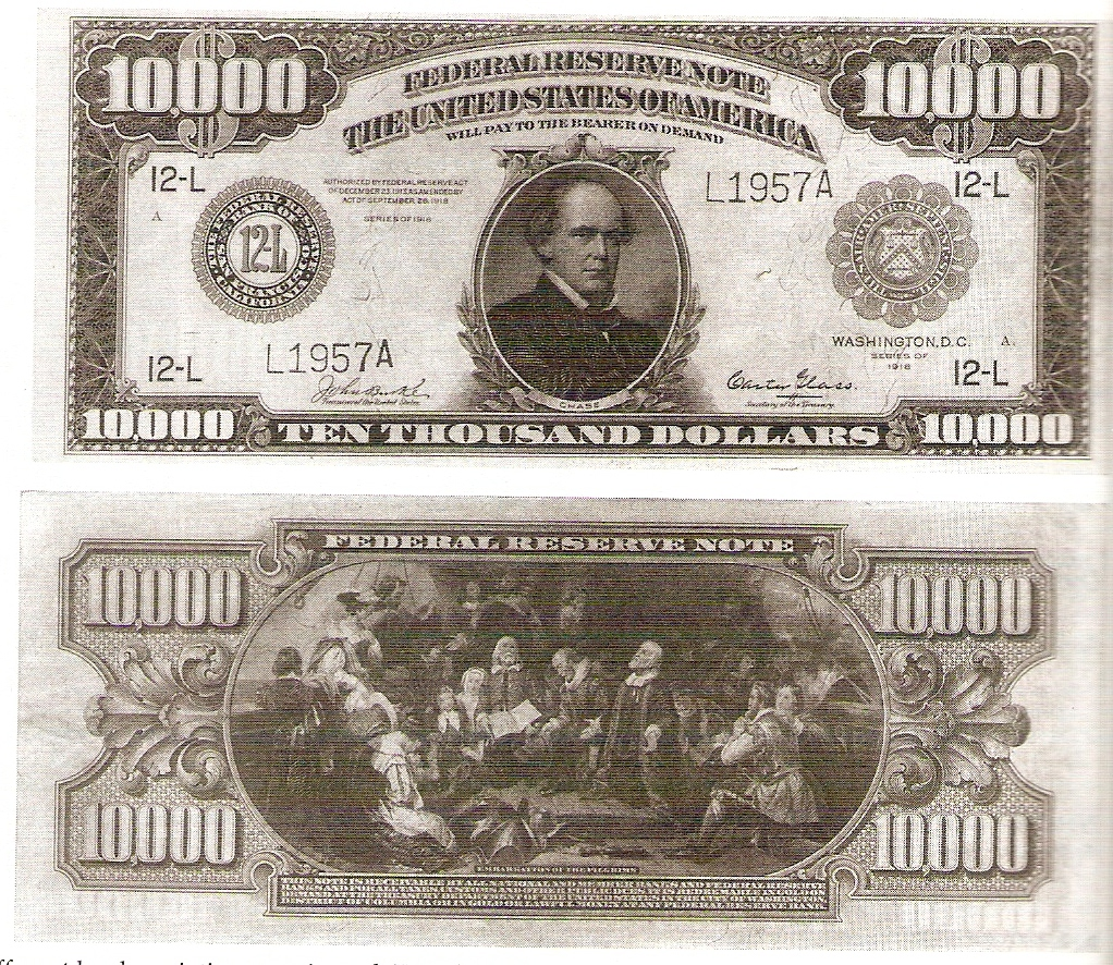 1918 Ten Thousand Dollar Federal Reserve Notes - USA Paper Money