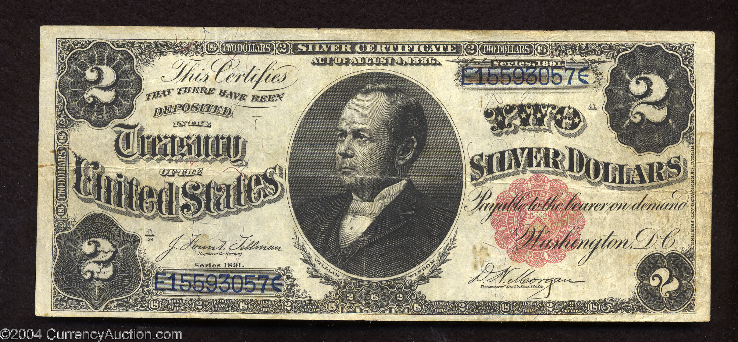1891 Two Dollar Silver Certificates Usa Paper Money Dealer Paper